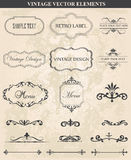 Ensemble décoratif de vintage d'éléments calligraphiques de conception illustration de vecteur