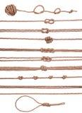Ensemble décoratif marin de collection d'éléments de corde avec le noeud Images libres de droits