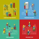 Ensemble décoratif plat de construction d'icône illustration stock