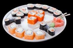 Ensemble délicieux de petits pains de sushi Photos stock