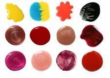 Ensemble d'échantillons de lustre de vernis à ongles et de languette Images stock