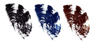 Ensemble d'échantillons plats de mascara Courses de brosse de différentes nuances de mascara Remous colorés d'isolement sur le fo images stock