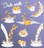 Ensemble d'éclaboussure de lait d'avoine, illustration réaliste de vecteur illustration libre de droits