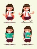 Ensemble d'école primaire d'étudiant Accueils d'écolière, marchant, rea illustration de vecteur