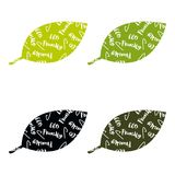 Ensemble d'ensemble écologique de vert de labels et d'insignes de vert avec des feuilles pour les produits écologiques illustration libre de droits