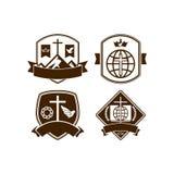 Ensemble d'église chrétienne de logos de vintage illustration stock