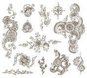 Ensemble d'élément de henné de tatouage Image libre de droits