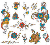 Ensemble d'élément de henné de tatouage Images libres de droits