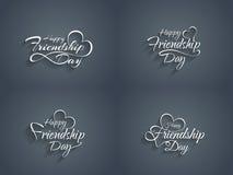 Ensemble d'élément heureux de conception des textes de jour d'amitié illustration de vecteur