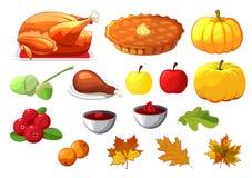 Ensemble d'élément pour le jour heureux de thanksgiving sur le fond blanc Insigne, icône, calibre une pomme, canneberges, tarte d illustration stock