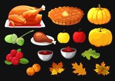 Ensemble d'élément pour le jour heureux de thanksgiving sur le noir Insigne, icône, calibre une pomme, canneberges, tarte de poti illustration stock