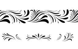 Ensemble d'élément sans couture floral de conception de modèle de remous Ornemental épanouissez-vous la frontière au-dessus du fo illustration de vecteur