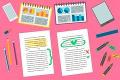 Ensemble d'éléments d'éducation d'étudiants Bureau et collection d'approvisionnements d'affaires illustration de vecteur