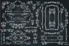 Ensemble d'éléments calligraphique courbé de conception, tourbillonnant Image stock