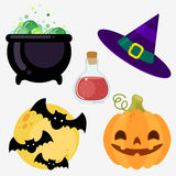 Ensemble d'éléments Chaudron de sorcière, chapeau, lune, battes, potiron de poison Image libre de droits