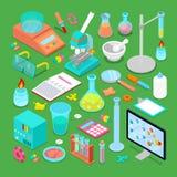 Ensemble d'éléments chimique isométrique de recherches illustration libre de droits