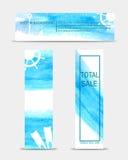 Ensemble d'éléments colorés de Web aquarelle de 3 étés illustration stock
