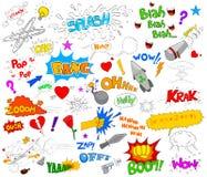 Ensemble d'éléments comiques géniaux de graphique d'explosion illustration libre de droits
