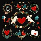 Ensemble d'éléments décoratif d'amour Images libres de droits