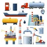 Ensemble d'éléments d'industrie pétrolière  illustration de vecteur