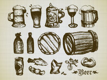 Ensemble d'éléments de bière Image stock