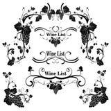 Ensemble d'éléments de conception avec des raisins et la vigne dans le style de vintage illustration stock