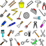 Ensemble d'éléments de conception d'outils de construction Image stock
