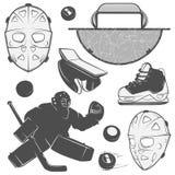 Ensemble d'éléments de conception de casque de gardien de but de hockey sur glace de vintage pour des emblèmes Photographie stock