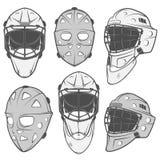 Ensemble d'éléments de conception de casque de gardien de but de hockey sur glace de vintage pour des emblèmes Images libres de droits
