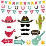 Ensemble d'éléments de conception de cowboy Image stock