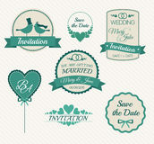 Ensemble d'éléments de conception de cru d'invitation de mariage Photographie stock libre de droits