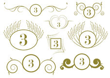 Ensemble d'éléments de conception de cru et de décorations calligraphiques de page de vecteur Photo libre de droits