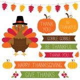 Ensemble d'éléments de conception de thanksgiving Photos stock