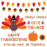 Ensemble d'éléments de conception de thanksgiving, police en lettres disponible des textes Images stock