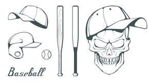 Ensemble d'éléments de conception de joueur de baseball Boule tirée par la main de base-ball Casque de base-ball de bande dessiné illustration stock