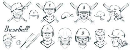 Ensemble d'éléments de conception de joueur de baseball Boule tirée par la main de base-ball Casque de base-ball de bande dessiné illustration libre de droits