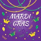 Ensemble d'éléments de conception de Mardi Gras images libres de droits