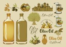 Ensemble d'éléments de conception sur le thème d'huile d'olive Photo libre de droits