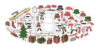 Ensemble d'éléments de constructeur de bonhomme de neige pour concevoir la carte postale illustration libre de droits