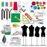 Ensemble d'éléments de couture plate photographie stock