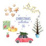 Ensemble d'éléments de graphique de Noël Photographie stock libre de droits