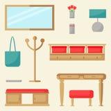 Ensemble d'éléments de hall Conception intérieure de couloir Images stock