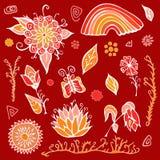 Ensemble d'éléments de jour d'été avec les fleurs, l'arc-en-ciel et le papillon Sto Images libres de droits
