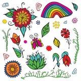 Ensemble d'éléments de jour d'été avec les fleurs, l'arc-en-ciel et le papillon Sto Image stock