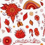 Ensemble d'éléments de jour d'été avec les fleurs, l'arc-en-ciel et le papillon Sto Images stock