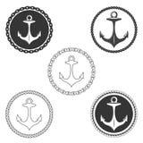Ensemble d'éléments de logo d'ancre de vintage avec la corde de bateau et la chaîne de bateau Images libres de droits