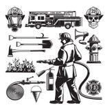 Ensemble d'éléments de lutte contre l'incendie de vintage illustration stock