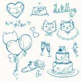 Ensemble d'éléments de mariage de chat Photo stock