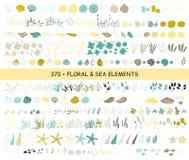Ensemble d'éléments de mer illustration de vecteur