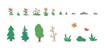 Ensemble d'éléments de paysage de nature de bande dessinée, arbres, pierres, herbe, fleurs Illustration plate de vecteur D'isolem illustration de vecteur